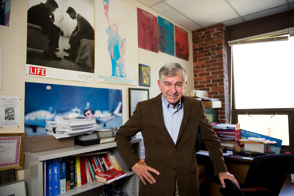 October 11, 2012 - Michael Dukakis, Northeastern University Distinguished Professor of Political Science and 1988 Democratic Party Nominee for President of the United States, poses for a portrait in his office.