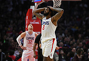 LA Clippers center DeAndre Jordan #6 reacts to being called for a foul in the first half. The Los Angeles Clippers played the Boston Celtics in a regular season NBA matchup in Los Angeles, CA 1/025/2018 (Photo by John McCoy, Los Angeles Daily News/SCNG)