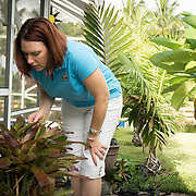 SEPTEMBER 10, 2016----WEST PALM BEACH, FLORIDA<br /> Brenda Hockman, 41, shows standing water in bromeliads  in their house's backyard on a Saturday morning. Hockman runs a pest control company and is not afraid to play outdoors even in the face of a mounting Zika virus infection problem in Florida.<br /> (Photo by Angel Valentin/Freelance Photographer)