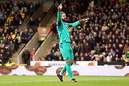 Scott Carson of Derby County celebrates his side&rsquo;s 1st goal during the Sky Bet Championship match at Carrow Road, Norwich<br /> Picture by Paul Chesterton/Focus Images Ltd +44 7904 640267<br /> 28/10/2017
