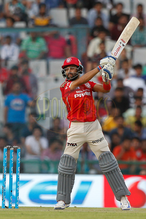 Manan Vohra of Kings XI Punjab bats during match 10 of the Vivo Indian Premier League ( IPL ) 2016 between the Kings XI Punjab and the Rising Pune Supergiants held at the IS Bindra Stadium, Mohali, India on the 17th April 2016<br /> <br /> Photo by Deepak Malik/ IPL/ SPORTZPICS