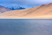 Tso Kar lake and snow capped mountains. Changthang. Ladakh. India.