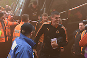 Wolverhampton Wanderers midfielder Conor Coady (16) and the Wolves players arrive during the EFL Sky Bet Championship match between Wolverhampton Wanderers and Sheffield Wednesday at Molineux, Wolverhampton, England on 29 April 2018. Picture by Alan Franklin.