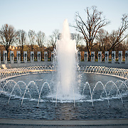 The main fountain of the National World World War II Memorial on the National Mall in Washington DC.