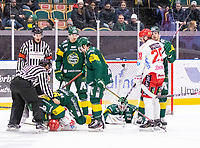 2019-12-14 | Umeå, Sweden:Björklöven (90) Alex Hutchings going in for a smaller fight in  HockeyAllsvenskan during the game  between Björklöven and Almtuna at A3 Arena ( Photo by: Michael Lundström | Swe Press Photo )<br /> <br /> Keywords: Umeå, Hockey, HockeyAllsvenskan, A3 Arena, Björklöven, Almtuna, mlba191214