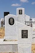Uzbekistan, Samarqand. Contemporary graveyard next to Shah-i-Zinda Ensemble.
