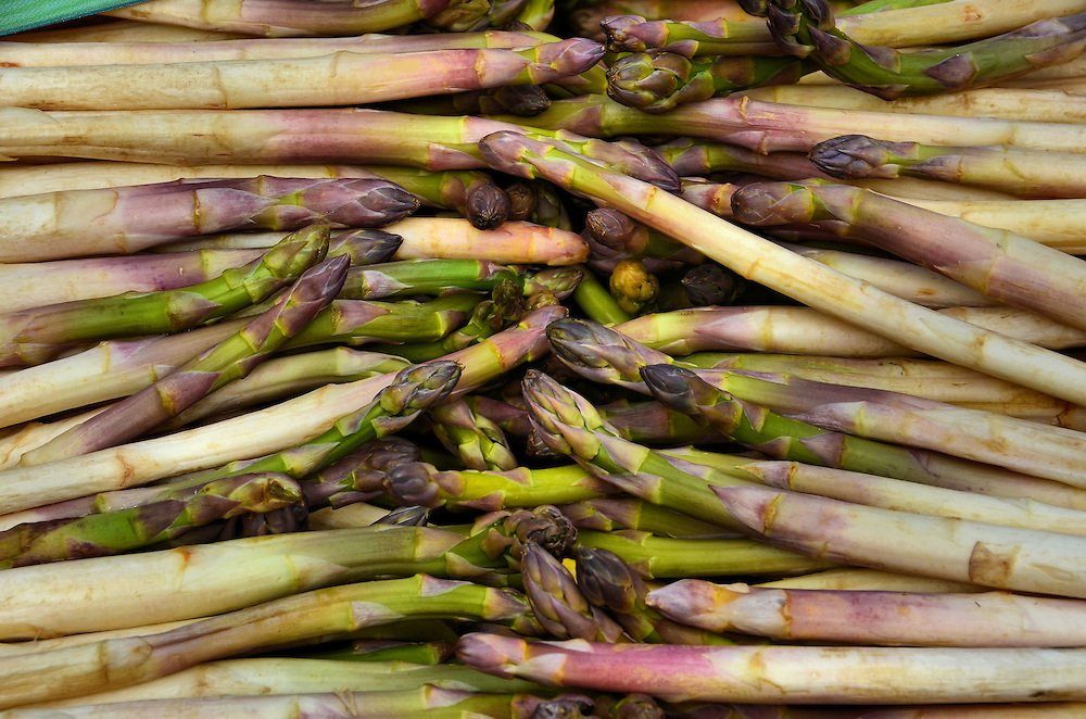 Asparagus at Outdoor Market in Annecy, France <br />