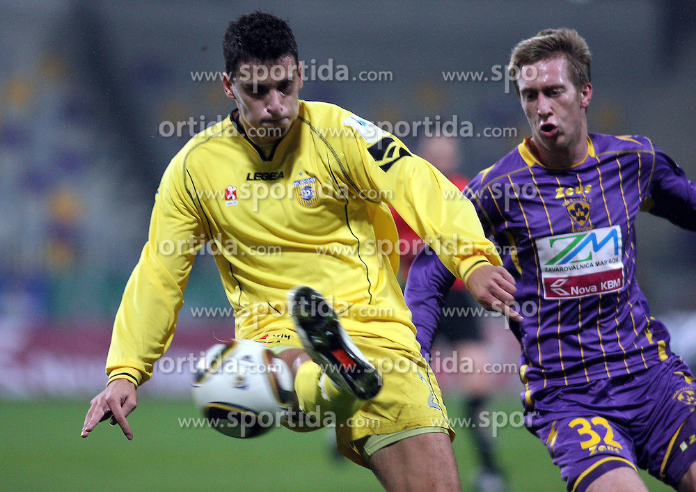 Darko Zec of Domzale vs Robert Beric of Maribor  during the football match between NK Maribor and NK Domzale, played in the 18th Round of Prva liga football league 2010 - 2011, on November 20, 2010, at Stadium Ljudski vrt, Maribor, Slovenia.  (Photo by Marjan Kelner / Sportida)