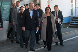 Licensed to London News Pictures. 06/11/2015. Spielfeld, Austria. Migrant crisis at the border crossing between Austria and Slovenia. Press Conference - Dimitris Avramopoulos, Member of the EC in charge of Migration, Home Affairs and Citizenship (left) and Johanna Mikl-Leitner, Austrian Federal Minister for the Interior. Photo: Marko Vanovsek/LNP