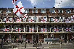 June 15, 2018 - London, London, UK - London, UK. Hundreds of England flags cover the Kirby Estate in Bermondsey, south London, as England begin their campaign at the World Cup in Russia. (Credit Image: © Rob Pinney/London News Pictures via ZUMA Wire)