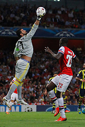 27.08.2013, Emirates Stadion, London, ENG, UEFA CL Qualifikation, FC Arsenal vs Fenerbahce Istanbul, Rueckspiel, im Bild Fernerbache's Volkan Demirel catches the ball during the UEFA Champions League Qualifier second leg match between FC Arsenal and Fenerbahce Istanbul at the Emirates Stadium, United Kingdom on 2013/08/27. EXPA Pictures © 2013, PhotoCredit: EXPA/ Mitchell Gunn<br /> <br /> ***** ATTENTION - OUT OF GBR *****