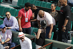 Former boxing World Champion Mike Tyson watching USA's Sloane Stephens and Madison keys playing in the semi-final of the French Tennis Open 2018, in the Roland-Garros Stadium, Paris, France, on June 7th, 2018. Photo by Henri Szwarc/ABACAPRESS.COM