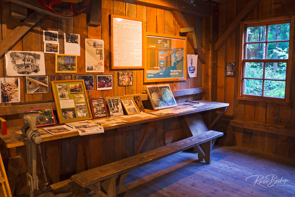 Interpretive displays inside Cedar Creek Grist Mill, Clark County, Washington