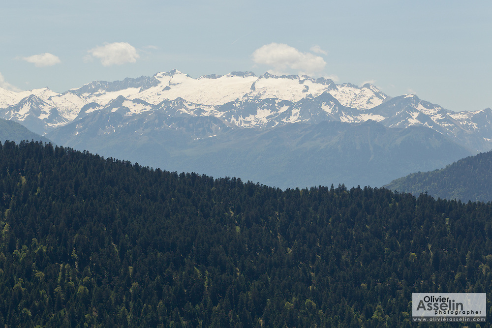 View of the Luchonais massif from near Col de Mente, Haute-Garonne, France.