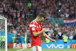 July 7, 2018 - Sochi, Russia - July 07, 2018, Sochi, FIFA World Cup 2018, the playoff round. 1/4 finals of the World Cup. Football match Russia - Croatia at the stadium Fisht. Player of the national team Denis Cheryshev (Credit Image: © Russian Look via ZUMA Wire)