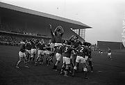 21/11/1964<br /> 11/21/1964<br /> 21 November 1964<br /> <br /> Leinster V Munster Rugby Interprovincial match at Landsdowne Road.<br /> <br /> Noel Murphy (Cork Constitution), the Captain of the Munster Team, gathers the ball with both hands from a line-out.