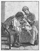 Silas Marner'  by George Eliot, 1861. Eppie the orphan, showing Silas Marner, the weaver, how much she likes him. Illustration by Mary L.Gow (1851-1929) published 1882.