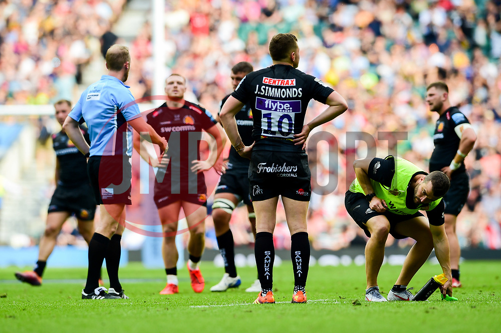 Joe Simmonds of Exeter Chiefs look dejected after the final whistle of the match - Mandatory by-line: Ryan Hiscott/JMP - 01/06/2019 - RUGBY - Twickenham Stadium - London, England - Exeter Chiefs v Saracens - Gallagher Premiership Rugby Final