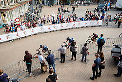 Lisa Brennauer (GER) hugs the barrier at Healthy Ageing Tour 2018 - Stage 5, a 94.3 km road race in Groningen on April 8, 2018. Photo by Sean Robinson/Velofocus.com