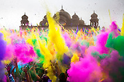 Thousands throw colored powder in sequence every 2 hours during the Holi Festival of Colors, on Saturday, Mar. 24, 2012, at the Lotus Temple, in Spanish Fork, Utah. (Photo by Benjamin B. Morris ©2012)