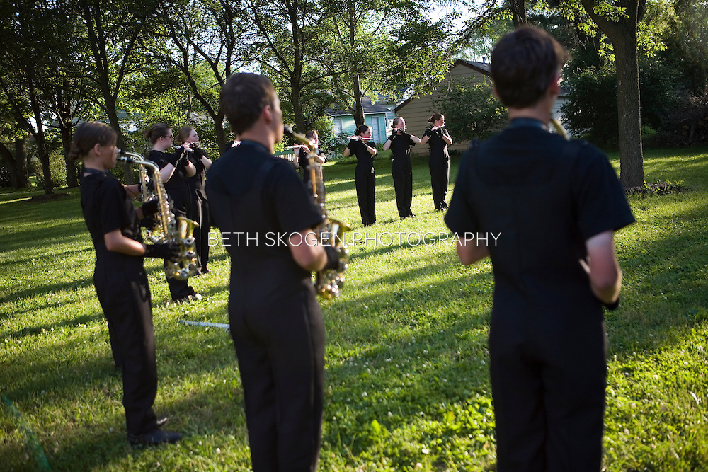 The Oregon Marching Band performs in Middleton, Wisconsin on June 20, 2008.