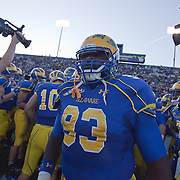 11/12/11 Newark DE: Delaware Defensive tackle Demitrius Hester #93 getting ready for the start of a Week 10 NCAA football game...Delaware defeated Richmond 24-10 in front of 18, 808 fans at Delaware Stadium on Saturday Nov. 12, 2011 in Newark Delaware...Special to The News Journal/SAQUAN STIMPSON