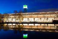 DEU, Germany, North Rhine-Westphalia, Ruhr area, Bochum, the Century Hall and the water tower, the Century hall is venue of the Ruhrtriennale.<br /> <br /> DEU, Deutschland, Nordrhein-Westfalen, Ruhrgebiet, Bochum, die Jahrhunderthalle und der Wasserturm, die Jahrhunderthalle ist Veranstaltungsort der Ruhrtriennale.