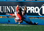 Jess Kavanagh of Wales Abby Dow of England<br /> <br /> Photographer Simon King/Replay Images<br /> <br /> Six Nations Round 3 - Wales Women v England Women - Sunday 24th February 2019 - Cardiff Arms Park - Cardiff<br /> <br /> World Copyright © Replay Images . All rights reserved. info@replayimages.co.uk - http://replayimages.co.uk