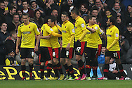 Picture by David Horn/Focus Images Ltd +44 7545 970036.09/03/2013.Cristian Battocchio of Watford (3rd left) celebrates scoring his side's first goal during the npower Championship match at Vicarage Road, Watford.