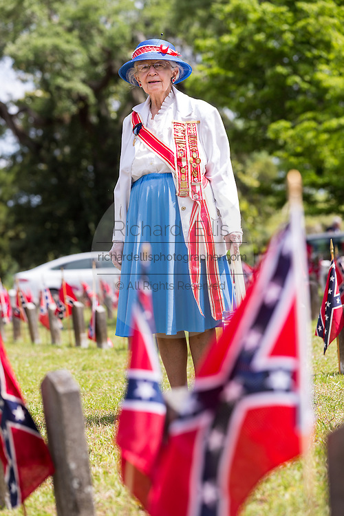 President General of the United Daughters of the Confederacy June Murray Wells and Director of the Confederate Museum during Confederate Memorial Day at Magnolia Cemetery April 10, 2014 in Charleston, SC. Wells traces here heritage back 345 years to the first settlers in Charleston.