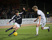 Dundee&rsquo;s Paul McGinn runs at Dumbarton&rsquo;s Jamie Lindsay - Dundee v Dumbarton, William Hill Scottish Cup Fifth Round at Dens Park<br /> <br />  - &copy; David Young - www.davidyoungphoto.co.uk - email: davidyoungphoto@gmail.com