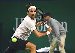 SHANGHAI, Oct. 12, 2018  Switzerland's Roger Federer hits a return during the men's singles quarterfinal match against Japan's Kei Nishikori at the Shanghai Masters tennis tournament on Oct. 12, 2018. Roger Federer won 2-0. (Credit Image: © Ding Ting/Xinhua via ZUMA Wire)