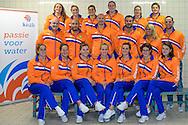 05-01-2015: Waterpolo: Persmoment Nederlands waterpolo: Zeist<br /> <br /> boven vlnr. <br /> Yasemin Smit, Keepster Debby Willemsz, Dagmar Genee, Lieke Klaassen, Nomi Stomphorst, Keepster Laura Aarts<br /> <br /> midden vlnr.<br /> videoanalist , keeperstrainer Gianluca Sattolo, assistent coach Bas de Jong, coach Arno Havenga, teammanager Ineke Yperlaan, fysiotherapeut Mark Smit<br /> <br /> onder vlnr. <br /> Isabella van Toorn, Leonie van der Molen, Vivian Sevenich, Marloes Nijhuis, Sabrina van der Sloot, Amarens Genee, Maud Megens <br /> <br /> Foto: Gertjan Kooij