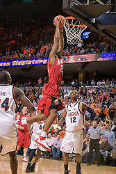 Maryland guard Adrian Bowie (22) goes up for a dunk against UVA.  The Virginia Cavaliers defeated the Maryland Terrapins 91-76 at the University of Virginia's John Paul Jones Arena  in Charlottesville, VA on March 9, 2008.