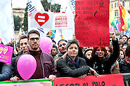 Rally in central Rome of LGBT associations, for call for more rights for homosexual couples, the protest  after approval of the bill on civil union  which was approved recently by  the Italian Senate. Rome, Italy 5th March 2016