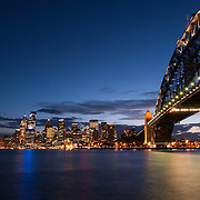 Sydney Harbour and skyline at night