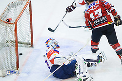 ROBERT KRISTAN of Slovenia vs Michael Schiechl of Austria during Friendly Ice-hockey match between National teams of Slovenia and Austria on April 19, 2013 in Ice Arena Tabor, Maribor, Slovenia. (Photo By Vid Ponikvar / Sportida)