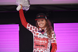 Susanne Andersen (NOR) retains the best Norwegian rider jersey on Ladies Tour of Norway 2019 - Stage 2, a 131 km road race from Mysen to Askim, Norway on August 23, 2019. Photo by Sean Robinson/velofocus.com