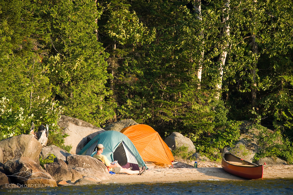 Camping on Katahdin Lake in Maine's Northern Forest.  Near Baxter State Park.