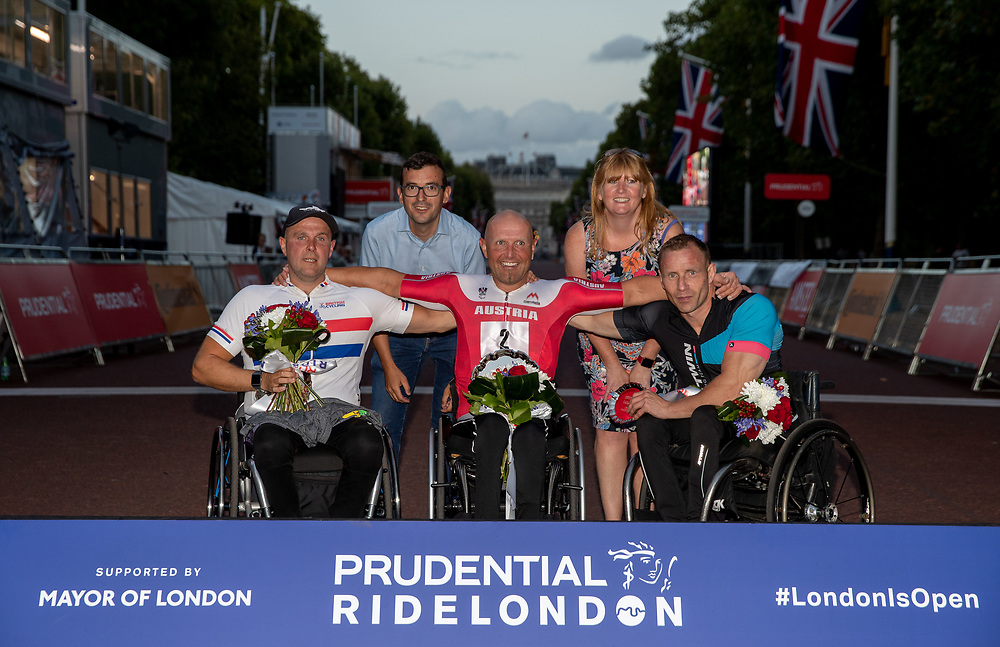 Luke Jones (GBR) H3 (second), Walter Ablinger (AUT) H3 (first) and Dan Hopwood (GBR) H3 - the winners of the H3 Men's race in The Prudential RideLondon Handcycle Grand Prix. Saturday 28th July 2018<br /> <br /> Photo: Ian Walton for Prudential RideLondon<br /> <br /> Prudential RideLondon is the world's greatest festival of cycling, involving 100,000+ cyclists - from Olympic champions to a free family fun ride - riding in events over closed roads in London and Surrey over the weekend of 28th and 29th July 2018<br /> <br /> See www.PrudentialRideLondon.co.uk for more.<br /> <br /> For further information: media@londonmarathonevents.co.uk