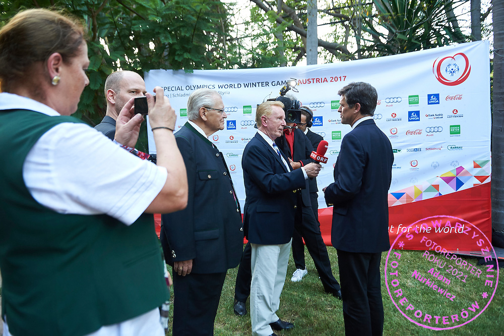 (R) Timothy Shriver speaks while TV interview Austria 2017 Reception during third day of the Special Olympics World Games Los Angeles 2015 on July 27, 2015 in Los Angeles, USA.<br /> USA, Los Angeles, July 27, 2015<br /> <br /> Picture also available in RAW (NEF) or TIFF format on special request.<br /> <br /> For editorial use only. Any commercial or promotional use requires permission.<br /> <br /> Adam Nurkiewicz declares that he has no rights to the image of people at the photographs of his authorship.<br /> <br /> Mandatory credit:<br /> Photo by &copy; Adam Nurkiewicz / Mediasport