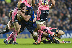 December 16, 2017 - Dublin, Ireland - James Ryan of Leinster team in action tackled by Gareth Steenson (Left) and Sam Simmonds (Center down) of Exeter Chiefs during the  European Rugby Champions Cup rugby match at Aviva Stadium...On Saturday, 16 December 2017, in Dublin, Ireland. (Credit Image: © Artur Widak/NurPhoto via ZUMA Press)