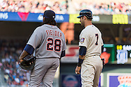 Joe Mauer #7 of the Minnesota Twins and Prince Fielder #28 of the Detroit Tigers talk during a game on June 15, 2013 at Target Field in Minneapolis, Minnesota.  The Twins defeated the Tigers 6 to 3.  Photo: Ben Krause