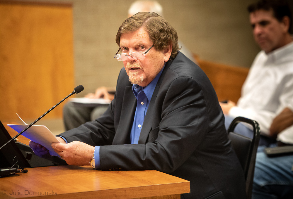Jim Newport, General Manager of Wanhua's U.S. Operations defending his company at an appeal hearing of a permit granted for Wanhua at the St James Parish Council Meeting on July 24, 2019.  Wanhua plans to build a  $1.25 Billion Chemical Complex t in St. James Parish but a group of residents in the parish are fighitng against it.  THe Tulane Environmental Law Clinic (TELC) is representing community members, RISE St. James and the Louisiana Bucket Brigade in a fight to stop the plant from being permitted.