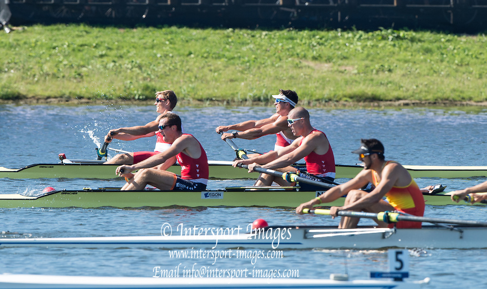 Rotterdam. Netherlands.    2016 Semi Final Men's coxed pair  CAN M2+ and NED M2+. {WRCH2016}  at the Willem-Alexander Baan.   Thursday  25/08/2016 <br /> <br /> [Mandatory Credit; Peter SPURRIER/Intersport Images]