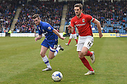 Coventry City defender Aaron Phillips (18) and Gillingham forward Rory Donnelly during the Sky Bet League 1 match between Gillingham and Coventry City at the MEMS Priestfield Stadium, Gillingham, England on 2 April 2016. Photo by Martin Cole.