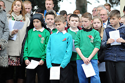 Children attend the Memorial service  - Mandatory byline: Dougie Allward/JMP - 07966 386802 - 11/11/2015 - Memorial Stadium - Bristol, England- Memorial Service