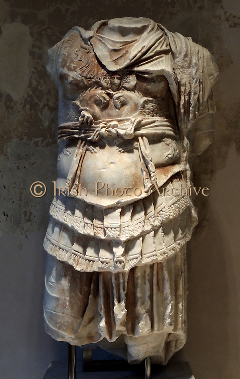 Statue of a Roman Emperor. About the armour bears the emperor Paludamentum, the Roman general's cloak. The right arm was missing. Found in 1903 in the theatre of Miletus. Collection of Classical Antiquities 2nd century BC