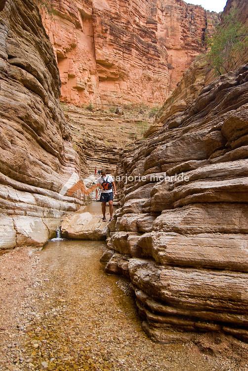 Hiking Matkatamiba on the Colorado river in the Grand Canyon, Arizona.