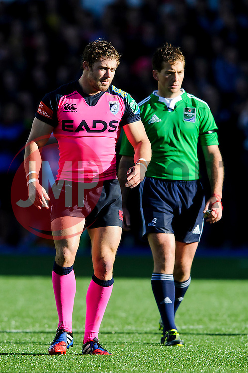 Cardiff Blues Full Back (#15) Leigh Halfpenny and referee JP Doyle look on during the second half of the match - Photo mandatory by-line: Rogan Thomson/JMP - Tel: 07966 386802 - 19/10/2013 - SPORT - RUGBY UNION - Cardiff Arms Park, Wales - Cardiff Blues v Toulon - Heineken Cup Round 2.